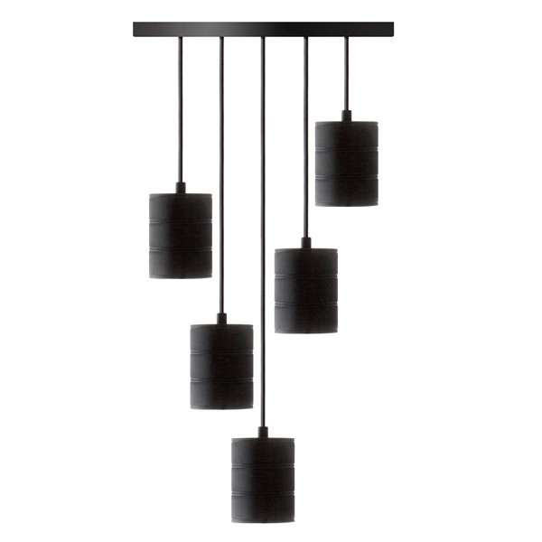5 Pendant Retro Cord Set E40 Black