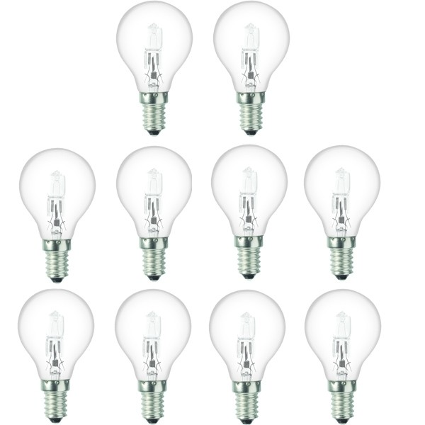 10 x Low Energy Halogen G45 28W E14 Clear