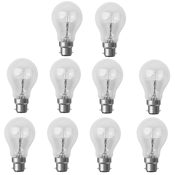 10 X Low Energy Halogen Light Bulb GLS 28W BC