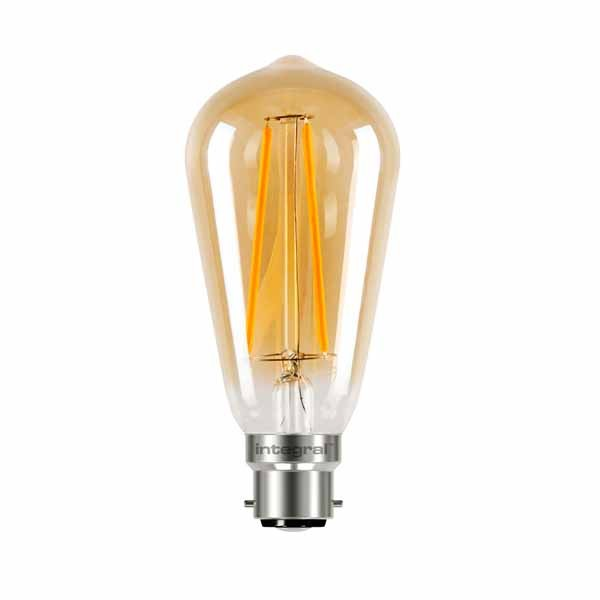 LED Edison Bulb 5w B22D Amber Dimmable
