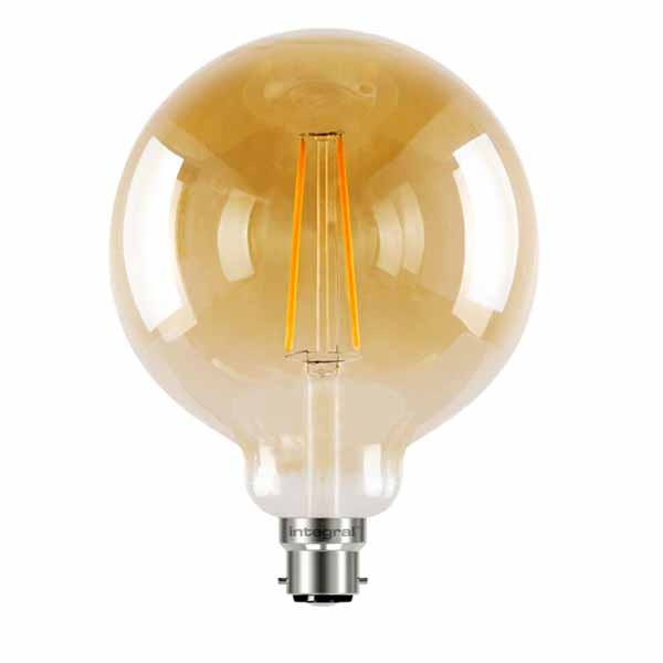 LED Edison Bulb G125 5w B22D Amber Dimmable