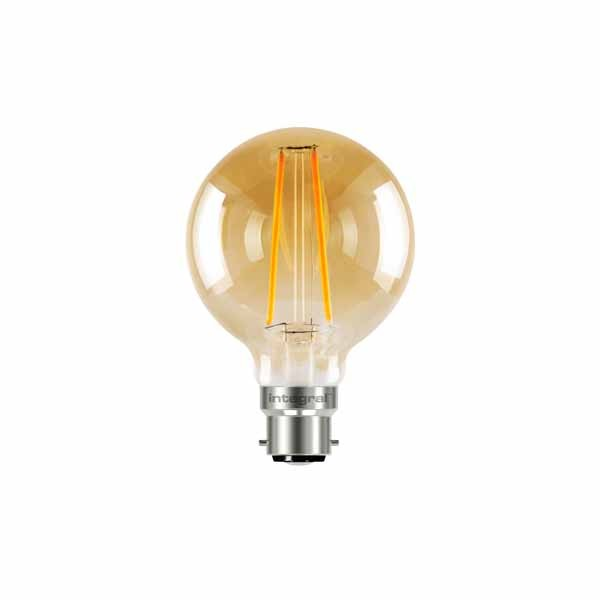 LED Edison Bulb G80 5w B22D Amber Dimmable