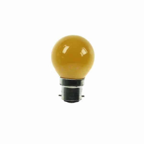 Golf Ball Bulb 45mm Round 240V 15W BC Yellow