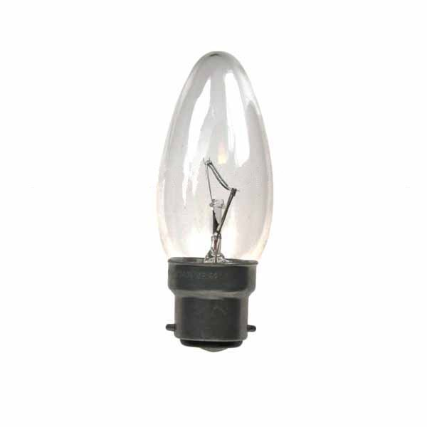 CANDLE 240V 40W B22D CLEAR