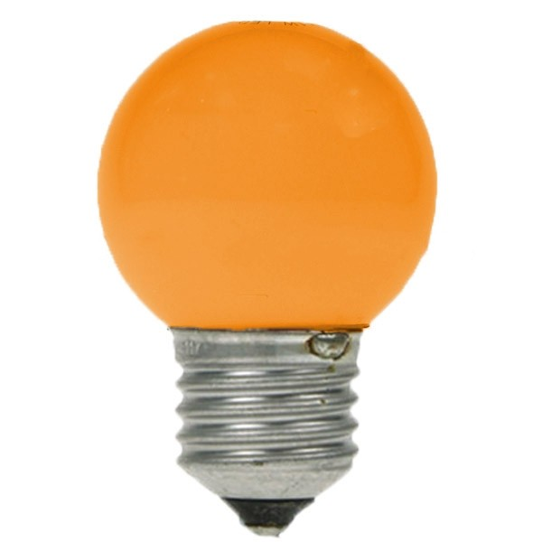 LED GOLF BALL BULB 240V 1W ES E27 YELLOW