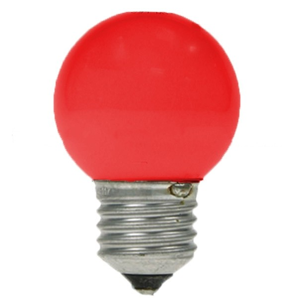 LED GOLF BALL BULB 240V 1W ES E27 RED