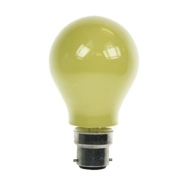 GLS Light Bulb 240V 15W B22D Yellow