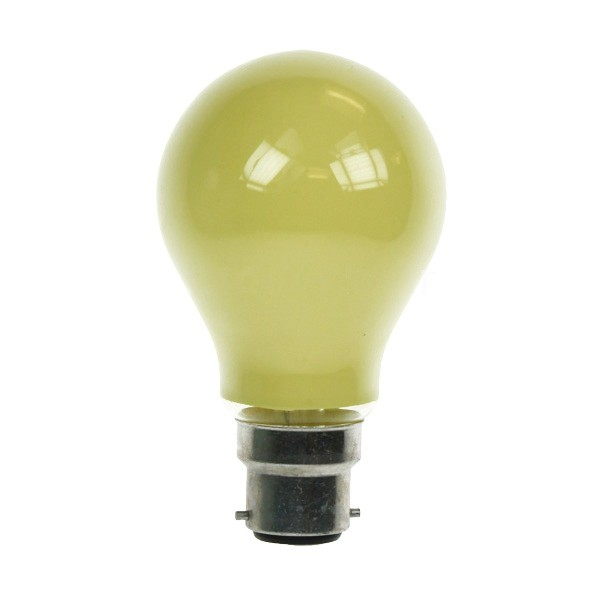 GLS Light Bulb 240V 25W B22D Yellow
