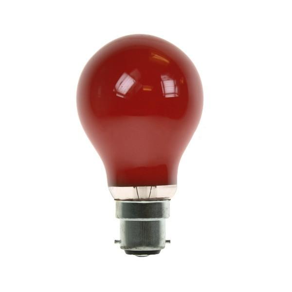 GLS Light Bulb 240V 60W B22D Red