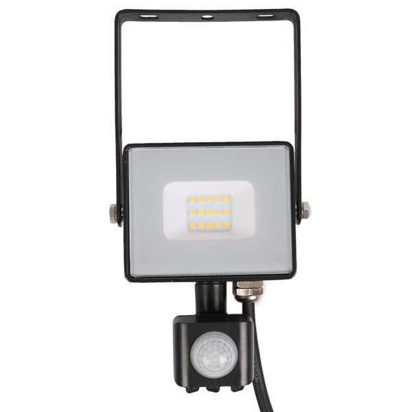10w Slimline LED Floodlight Black PIR Sensor