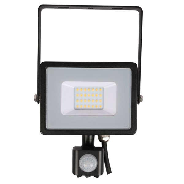 20w Slimline LED Floodlight Black PIR Sensor