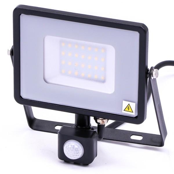 30w Slimline LED Floodlight Black PIR Sensor