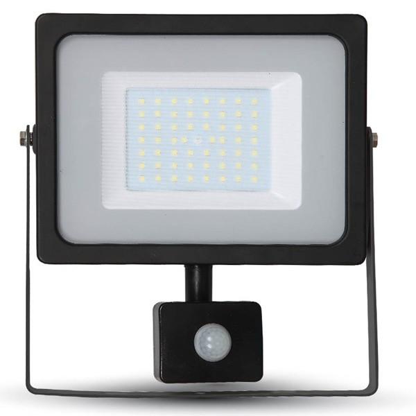 50w Slimline LED Floodlight Black PIR Sensor