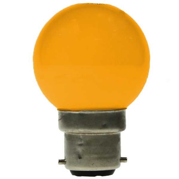 LED GOLF BALL BULB 240V 1W BC B22D YELLOW