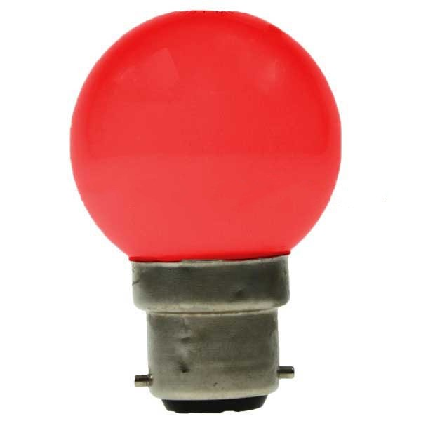 LED GOLF BALL BULB 240V 1W BC B22D RED