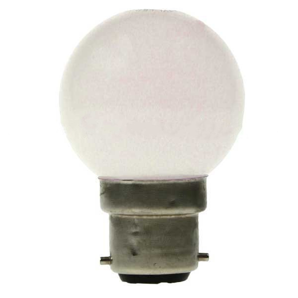 LED GOLF BALL BULB 240V 1W BC B22D WHITE
