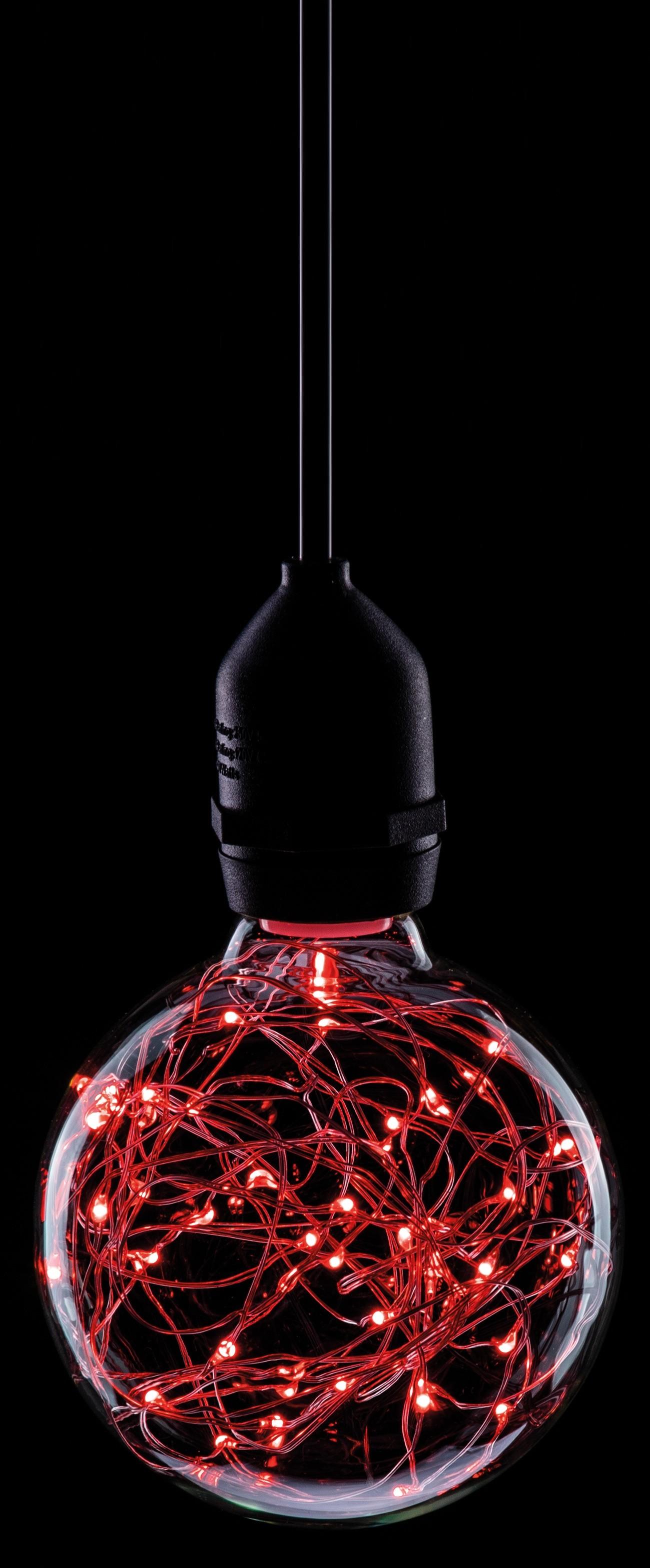 LED 95MM STAR EFFECT GLOBE 1.7W RED ES