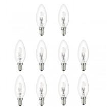 10x Low Energy Halogen Candle 18W E14 Clear