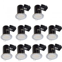 LED Downlight Chrome GU10 Fire Rated 10 Pack