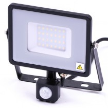 30w Slimline LED Floodlight Black PIR Sensor