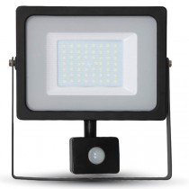 50w Slimline LED Floodlight Black PIR Sensor