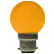 LED GOLF BALL BULB 240V 1W BC B22D YELLOW